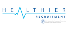 Healthier Recruitment's logo takes you to their list of jobs